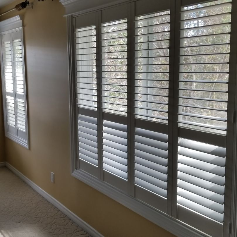 Bedroom Shutters, Shutters, Hunter Douglas Shutters, Palm Beach Shutters, S.P. Interiors, Framed Shutters, Split View Shutters, Divider Bar, Shutter Installation