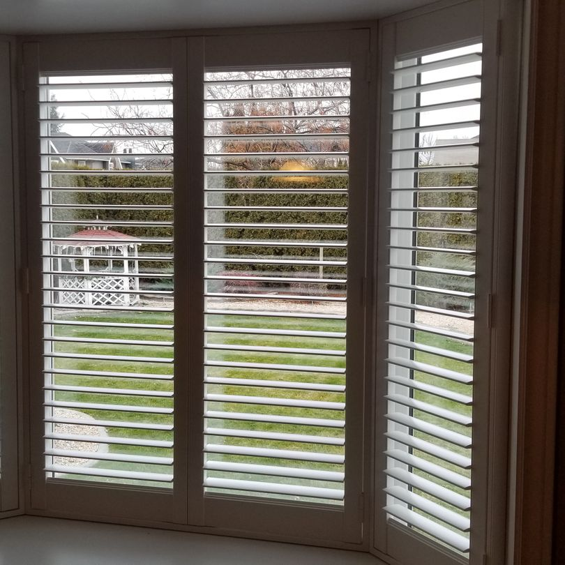 Bow Window Shutters, Shutters, Hunter Douglas Shutters, Palm Beach Shutters, S.P. Interiors, Framed Shutters, Split View Shutters, Divider Bar, Shutter Installation