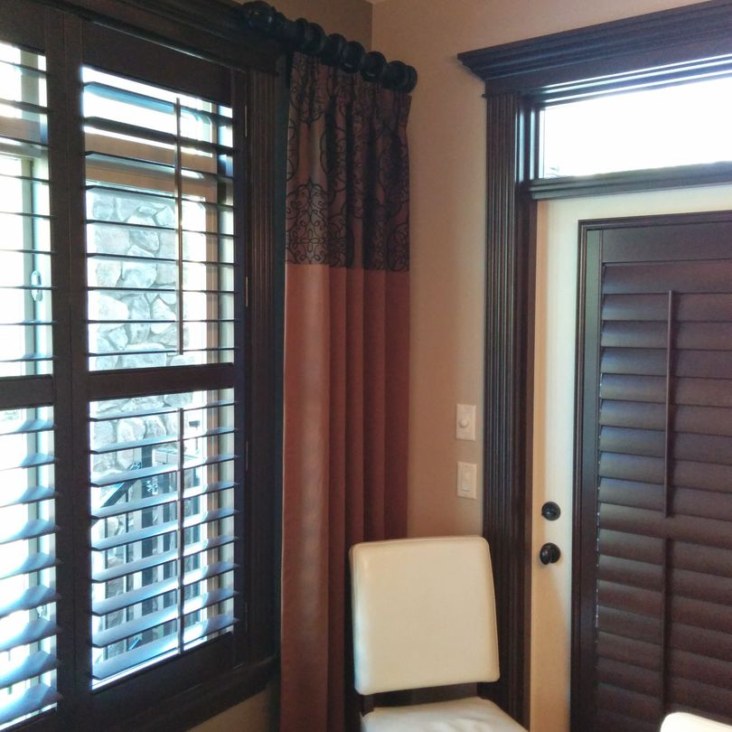 Wood Shutters, Shutters, Hunter Douglas Shutters, Palm Beach Shutters, S.P. Interiors, Framed Shutters, Split View Shutters, Divider Bar, Shutter Installation