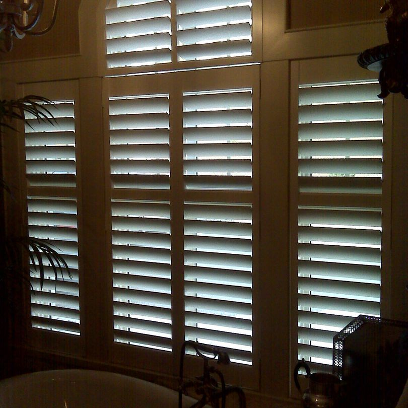 Arch Top Shutters, Sunburst Shutters, Shutters, Hunter Douglas Shutters, Palm Beach Shutters, S.P. Interiors, Framed Shutters, Split View Shutters, Divider Bar, Shutter Installation, Bathroom Shutters