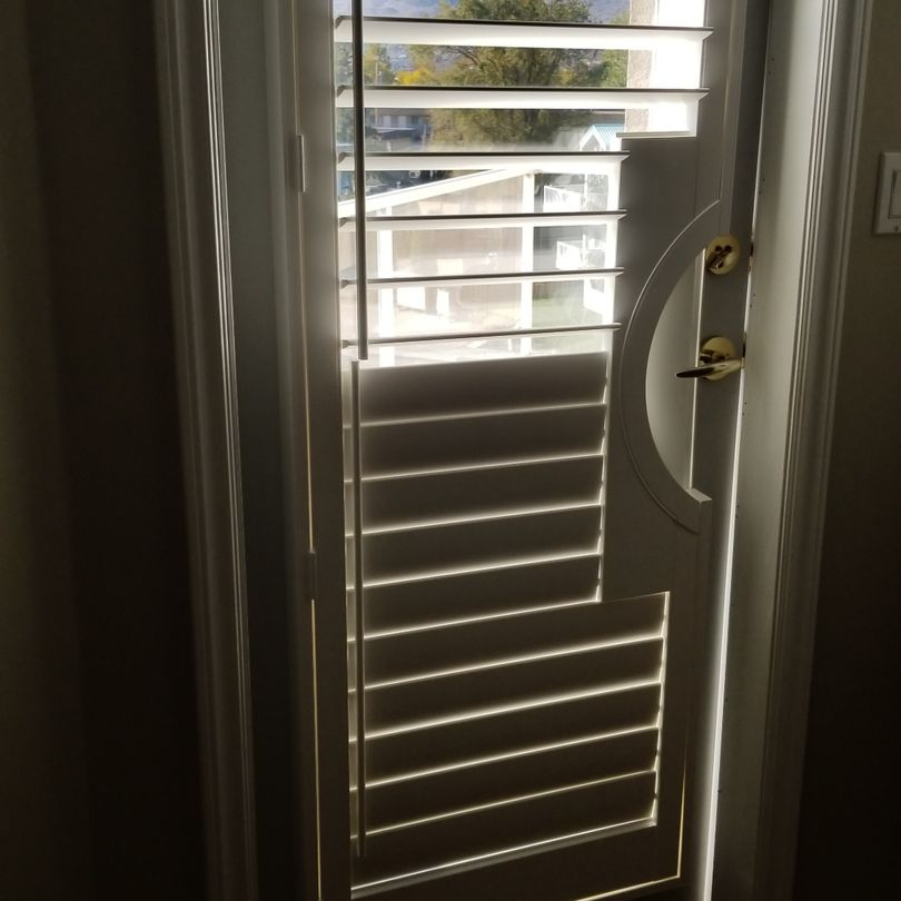 Door Cut Out Shutters, Framed Door Cut Out Shutters, Shutters, Hunter Douglas Shutters, Palm Beach Shutters, S.P. Interiors, Framed Shutters, Split View Shutters, Divider Bar, Shutter Installation
